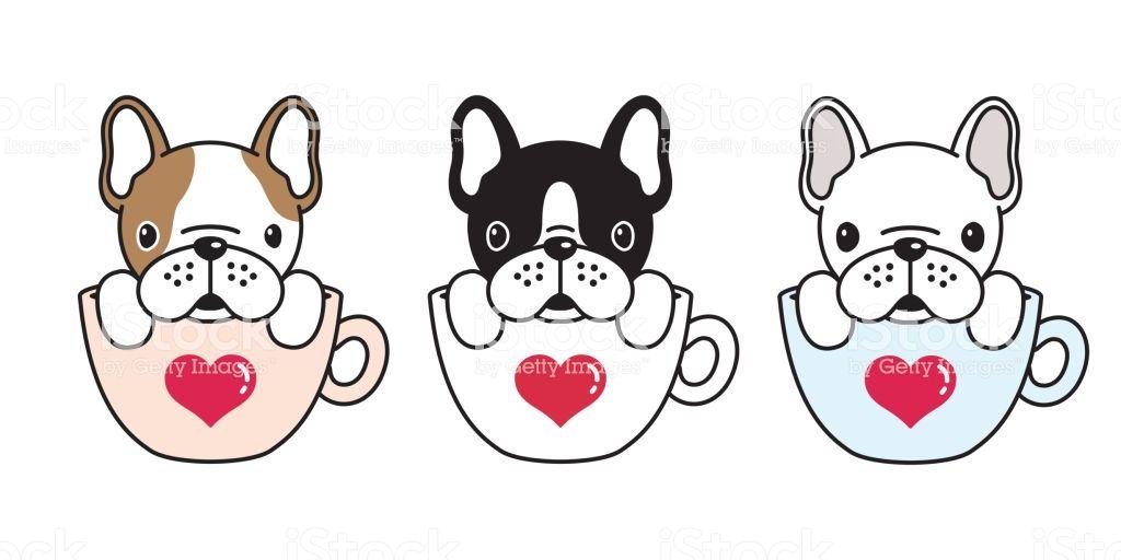 dog vector french bulldog pug illustration coffee cup