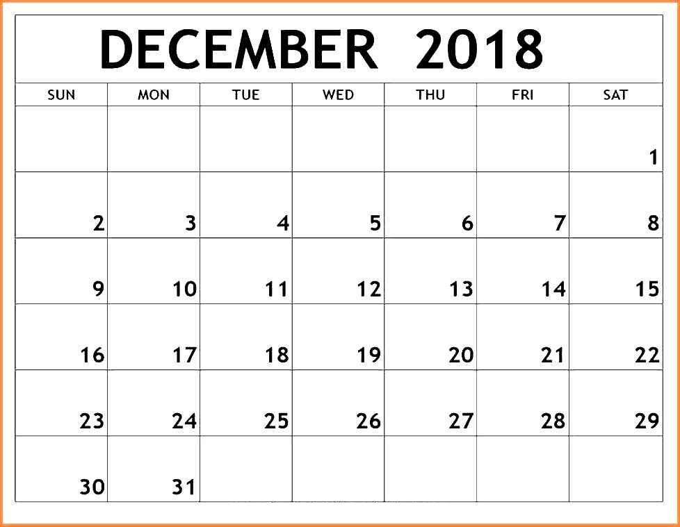 picture relating to Printable December Calendar identified as December 2018 Blank Calendar 25+ Totally free* Printable December