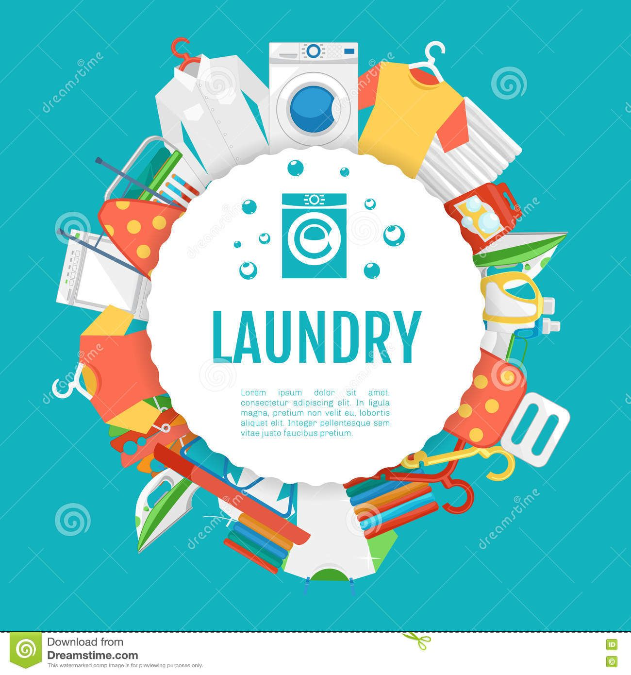 Laundry Service Poster Design Icons Circle Label With Text