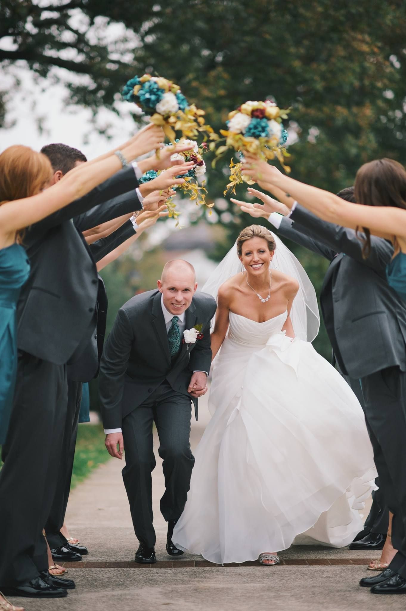 Bridal Party Salute Wedding Photography Bride And Groom Outdoor Pictures
