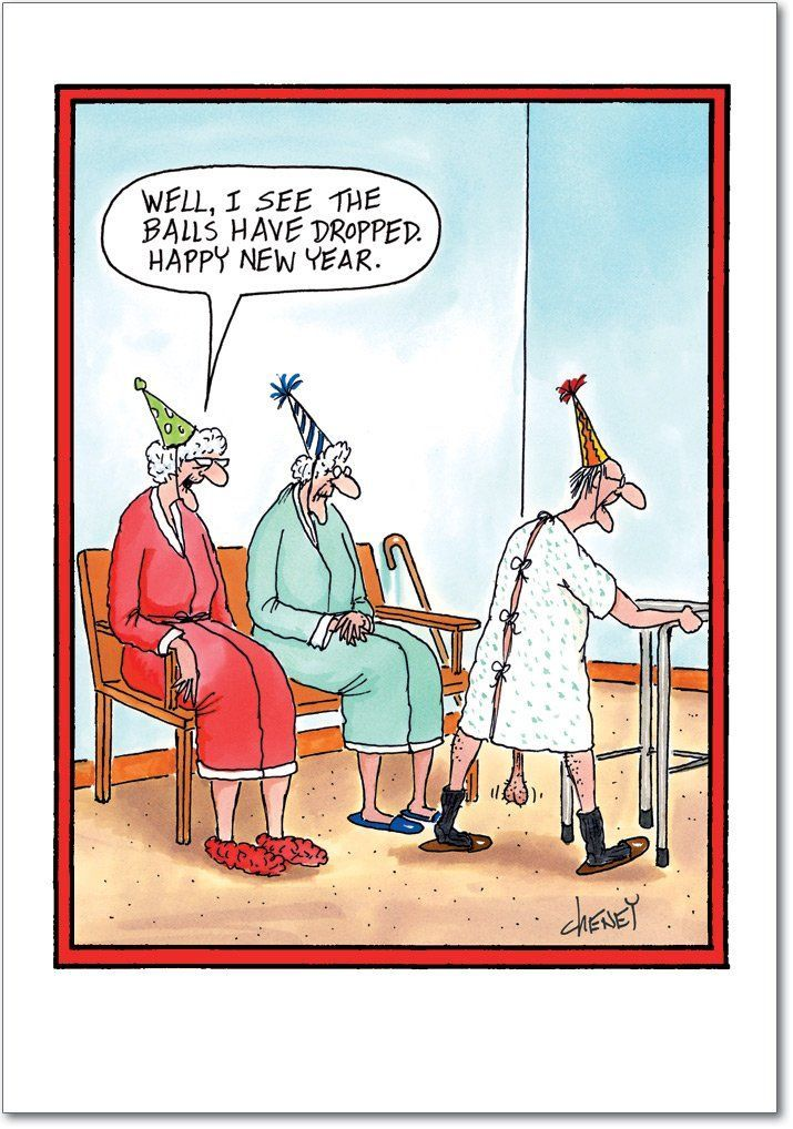 Balls Dropped New Year Joke Greeting Card  A Little Humor -1474