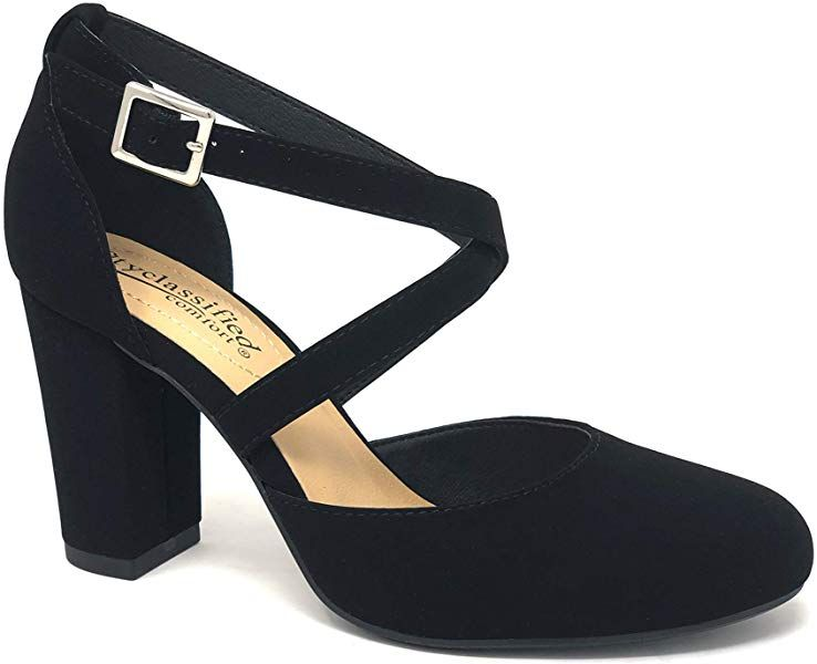 3c46d19d84a3a Amazon.com | City Classified Comfort Anytime Women's Closed Toe Ankle Strap  Block Heel (