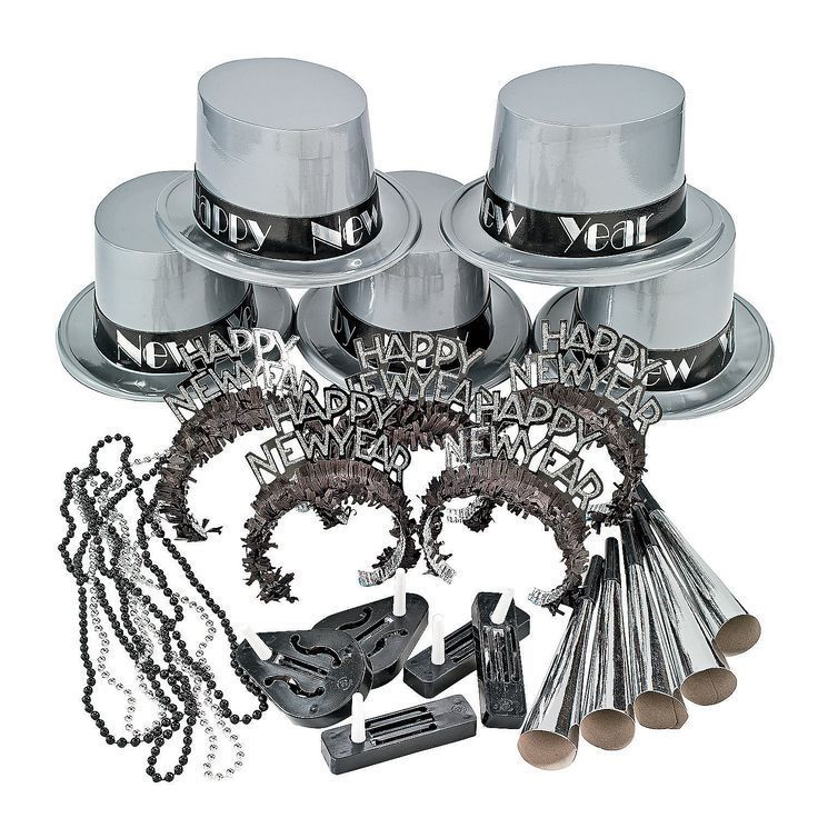 Silver Black New Years Eve Party Set For 10 Decor Favors