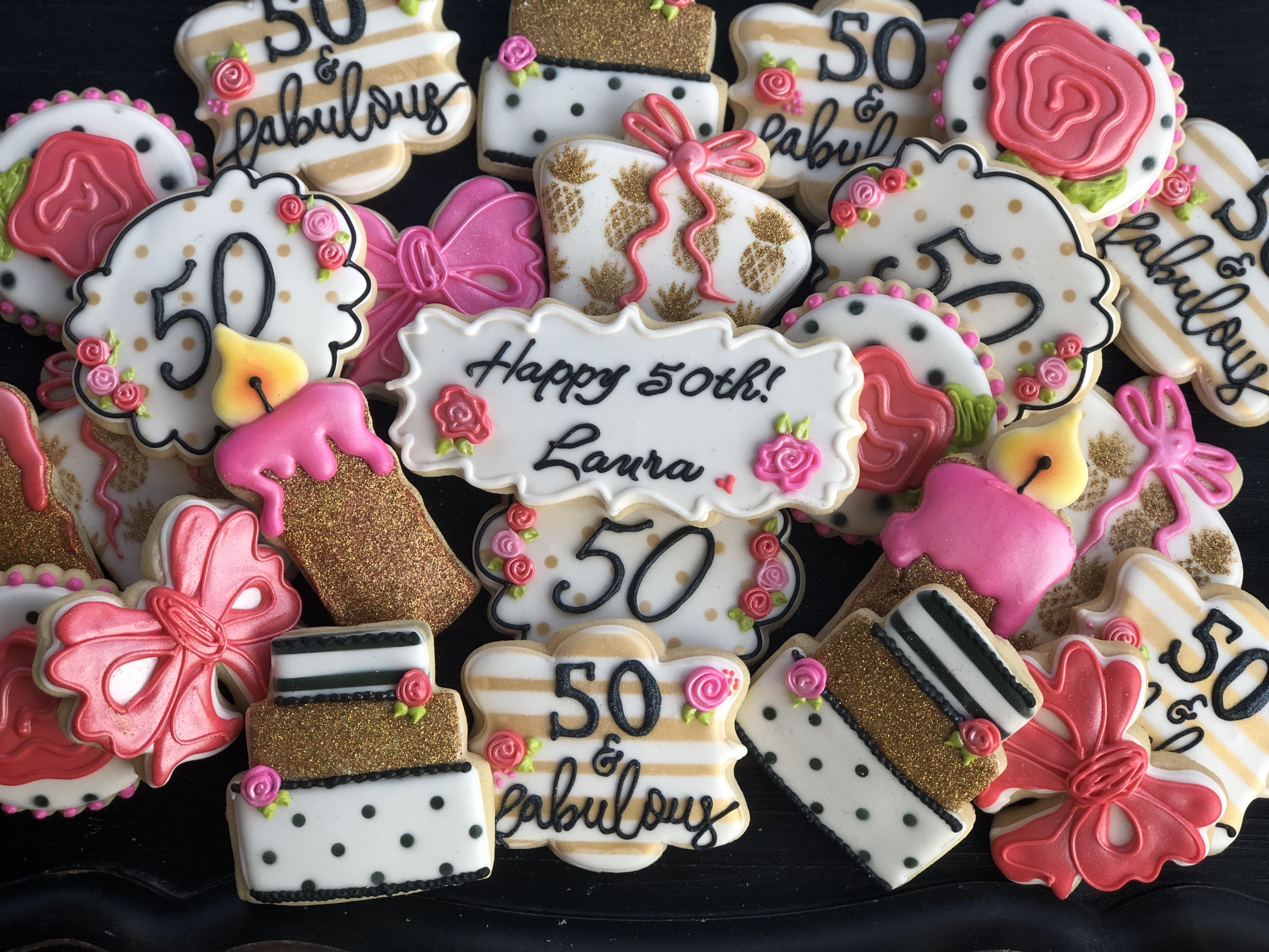 50 and fabulous Cookies Birthday cookies, 50th birthday