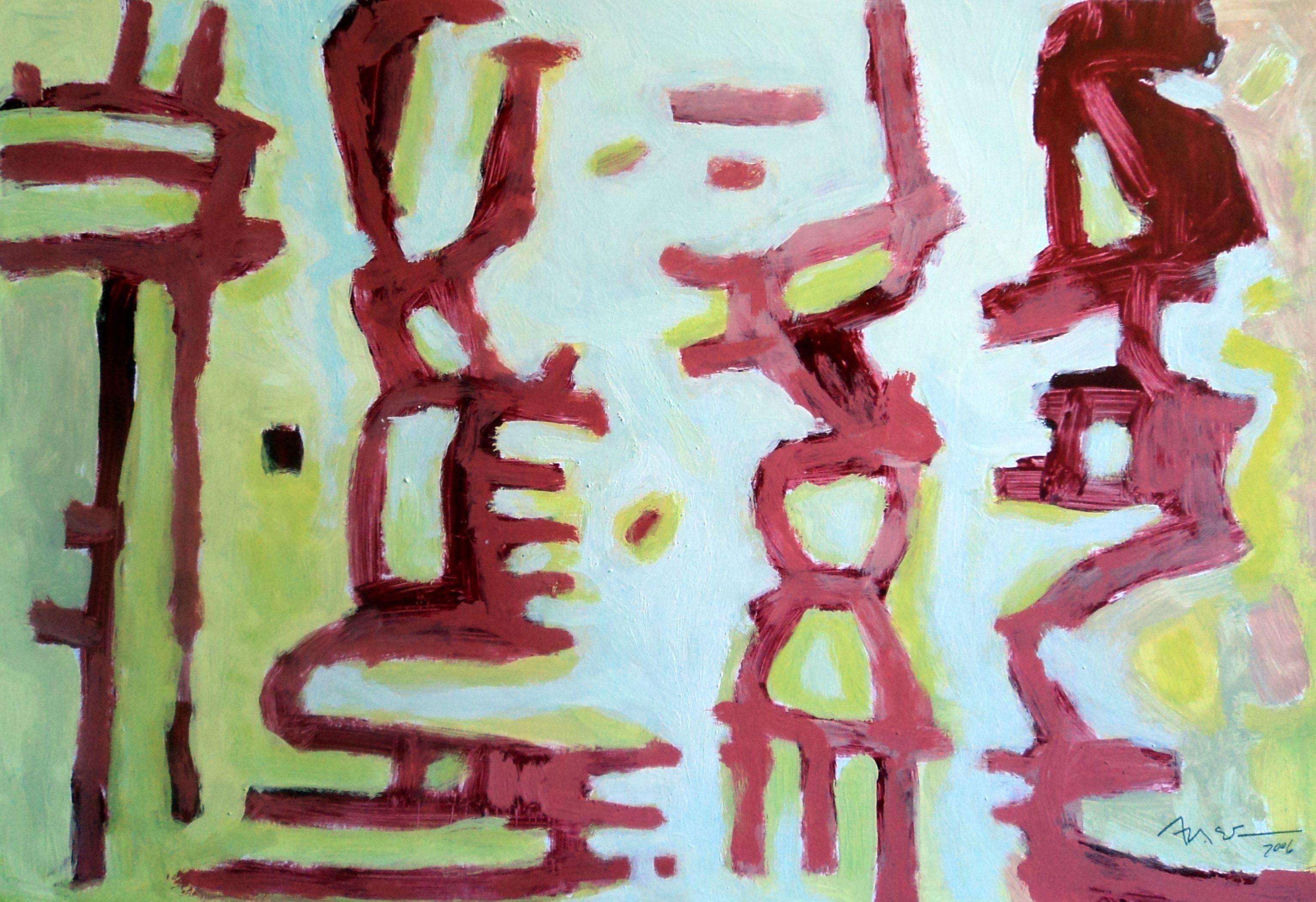 """""""Pintura 156"""" Óleo sobre cartulina 34 x 49 cms 2006"""