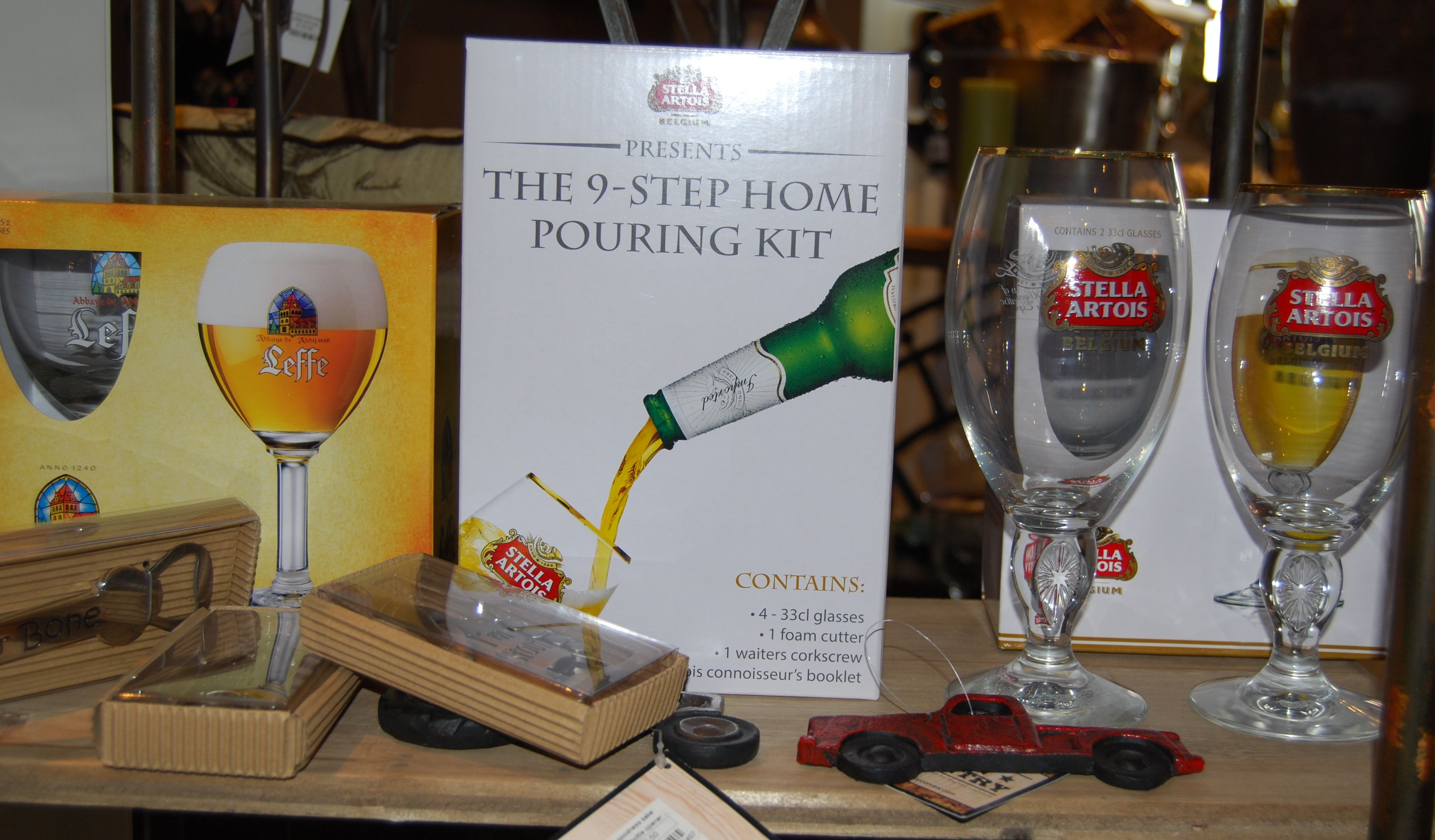 Stella Artois and Leffe glasses with accessories