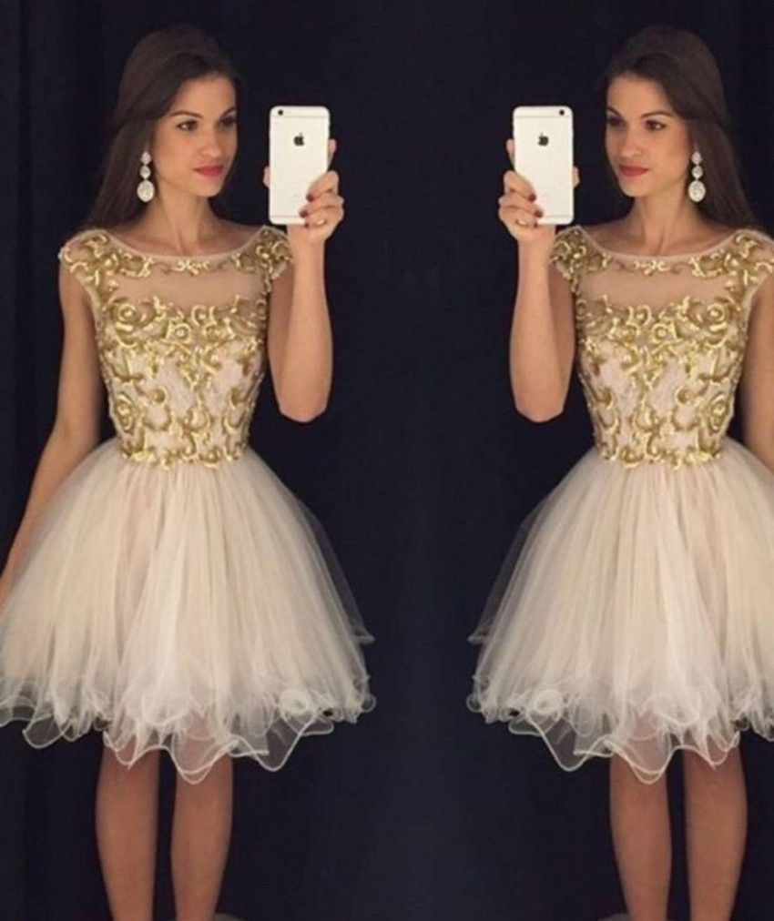 Custom made gold embroidery short homecoming dresses cap short