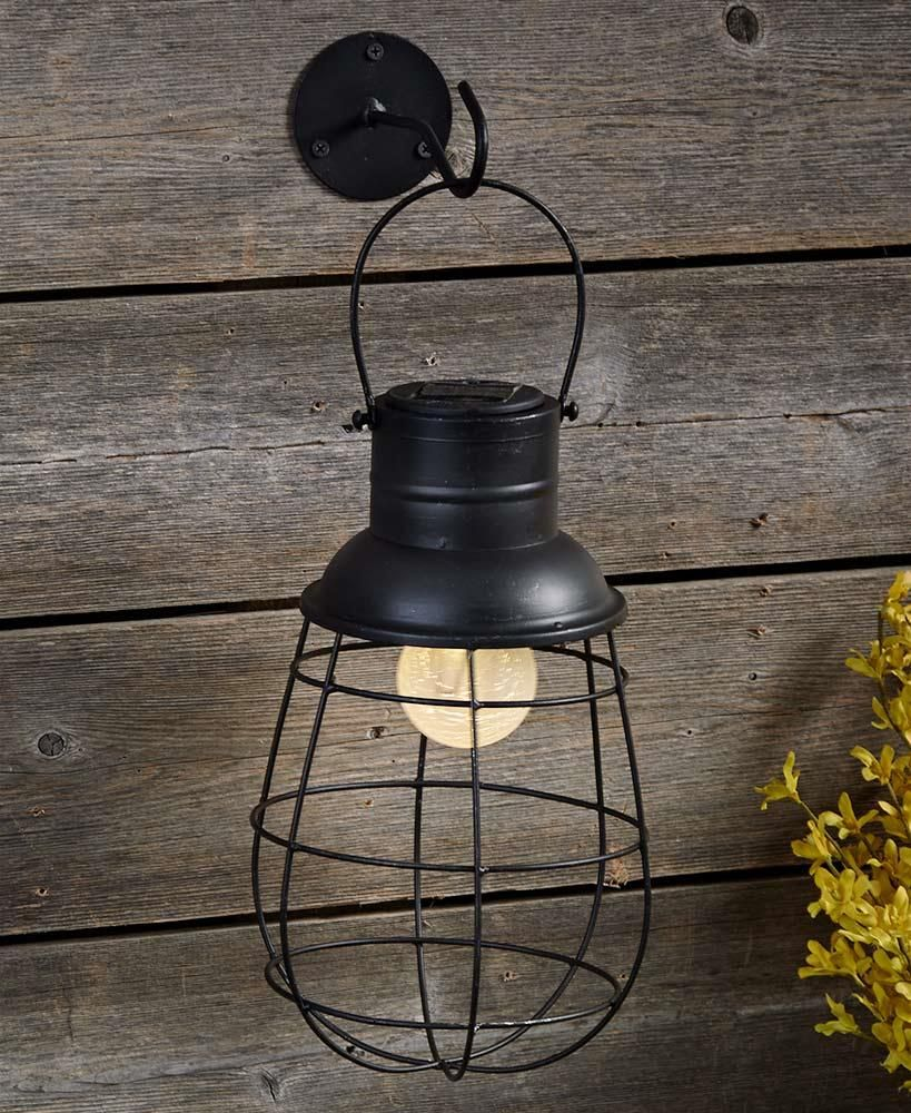 Solar Caged Industrial Rustic Wall Mounted Outdoor Patio Deck Light Hanging Lamp Solar Hanging Lanterns Outdoor Hanging Lanterns Rustic Lanterns