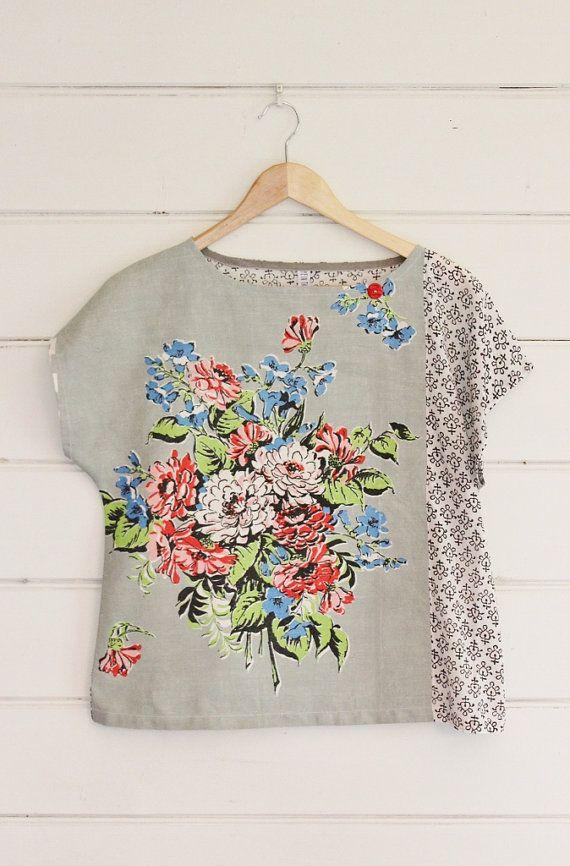 upcycled tea towel patchwork women top shirt black white grey vintage retro floral bouquet. Black Bedroom Furniture Sets. Home Design Ideas