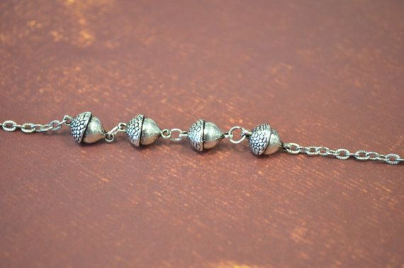 Antiqued Silver Acorn Bead Bracelet by skyeshouse on Etsy, $10.00
