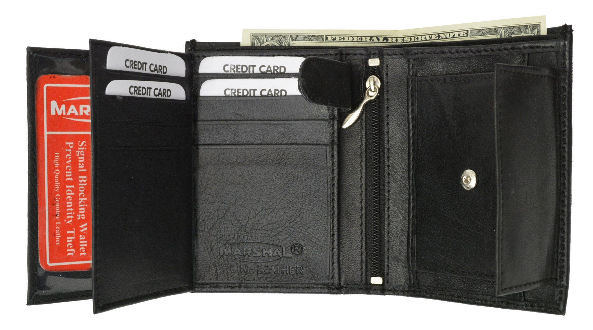 Men/'s Hipster Euro Bi-fold Traveler/'s Wallet with Coin Pocket Genuine Leather