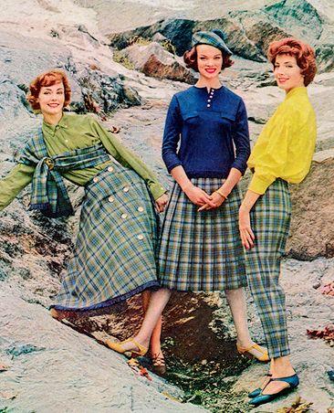 Vintage Fashion ~ Du Pont 1958 Love the green plaid.