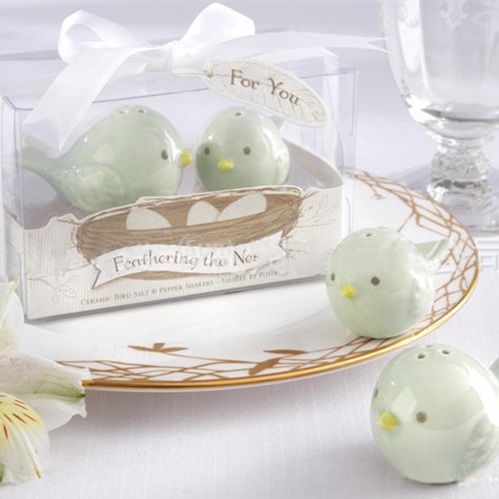 Wedding Favors Love Birds Ceramic Salt Pepper Shakers Set Festive