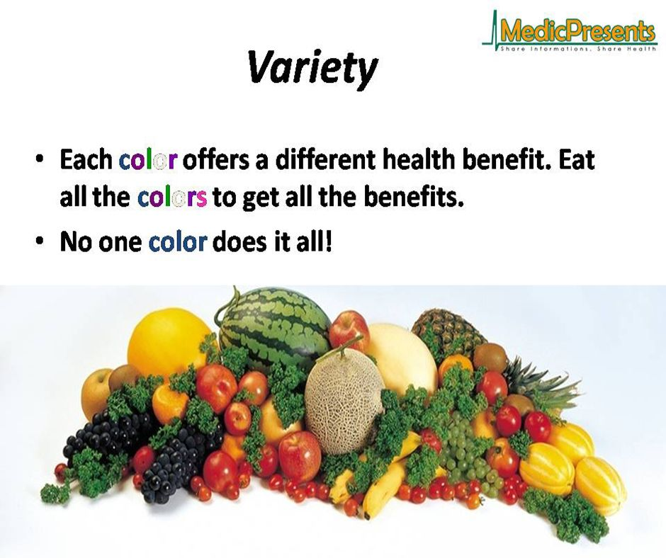 Variety of fruits & vegetables and their health benefits.