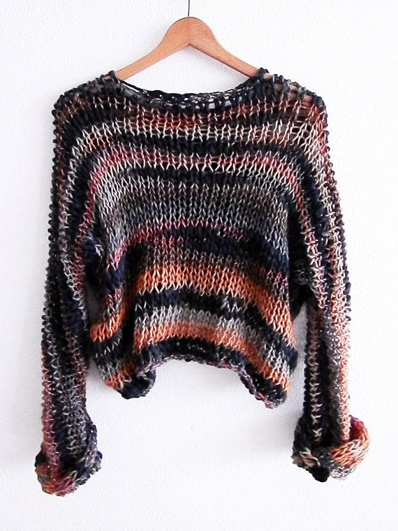 Simple Cropped Sweater Cropped Shrug Loose Knit by armarioenruinas