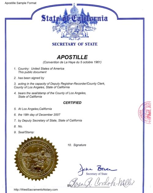 United States California Sacramento Secretary o State Apostille - copy translate mexican birth certificate