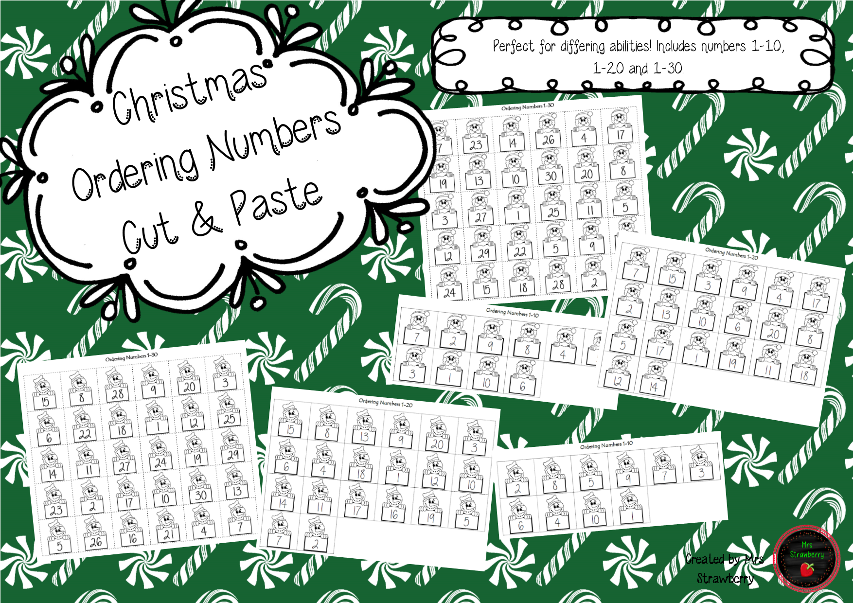 Christmas Ordering Numbers Cut and Paste Activity. Numbers 1-10, 1 ...