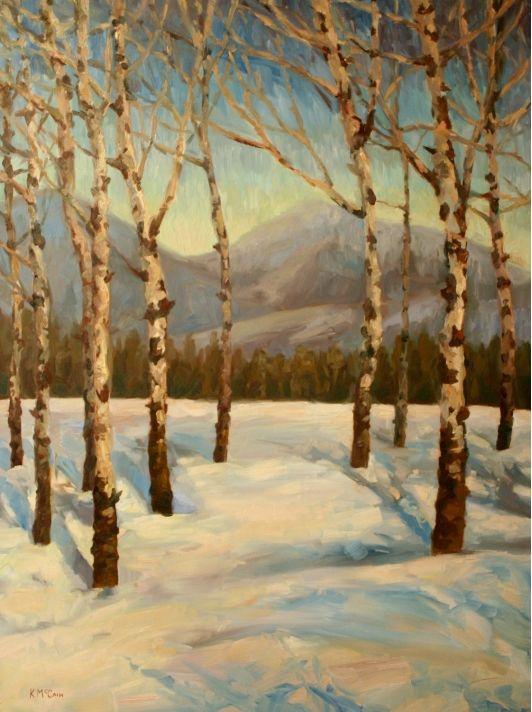 Canvas Print Plein Air Impressionist Oil Landscape Painting Aspen