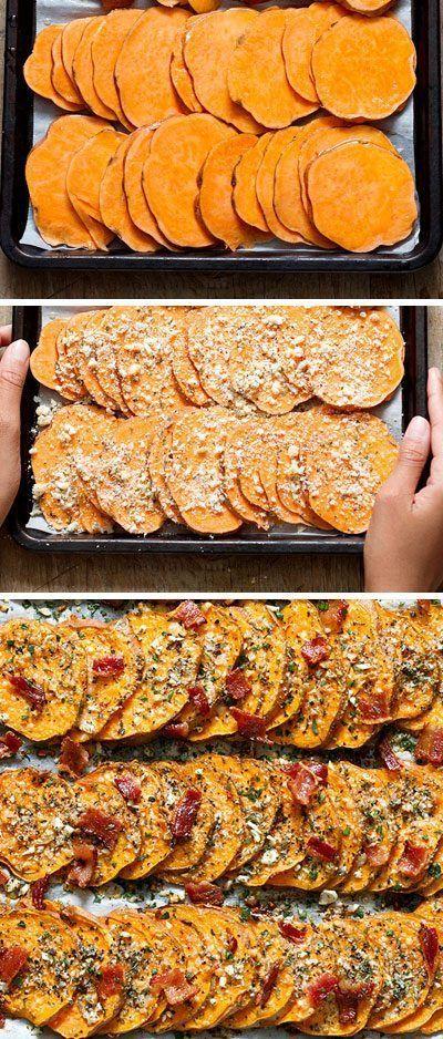 Garlic Parmesan Roasted Sweet Potatoes -  Roasted Sweet Potatoes with Garlic Parmesan and Bacon —