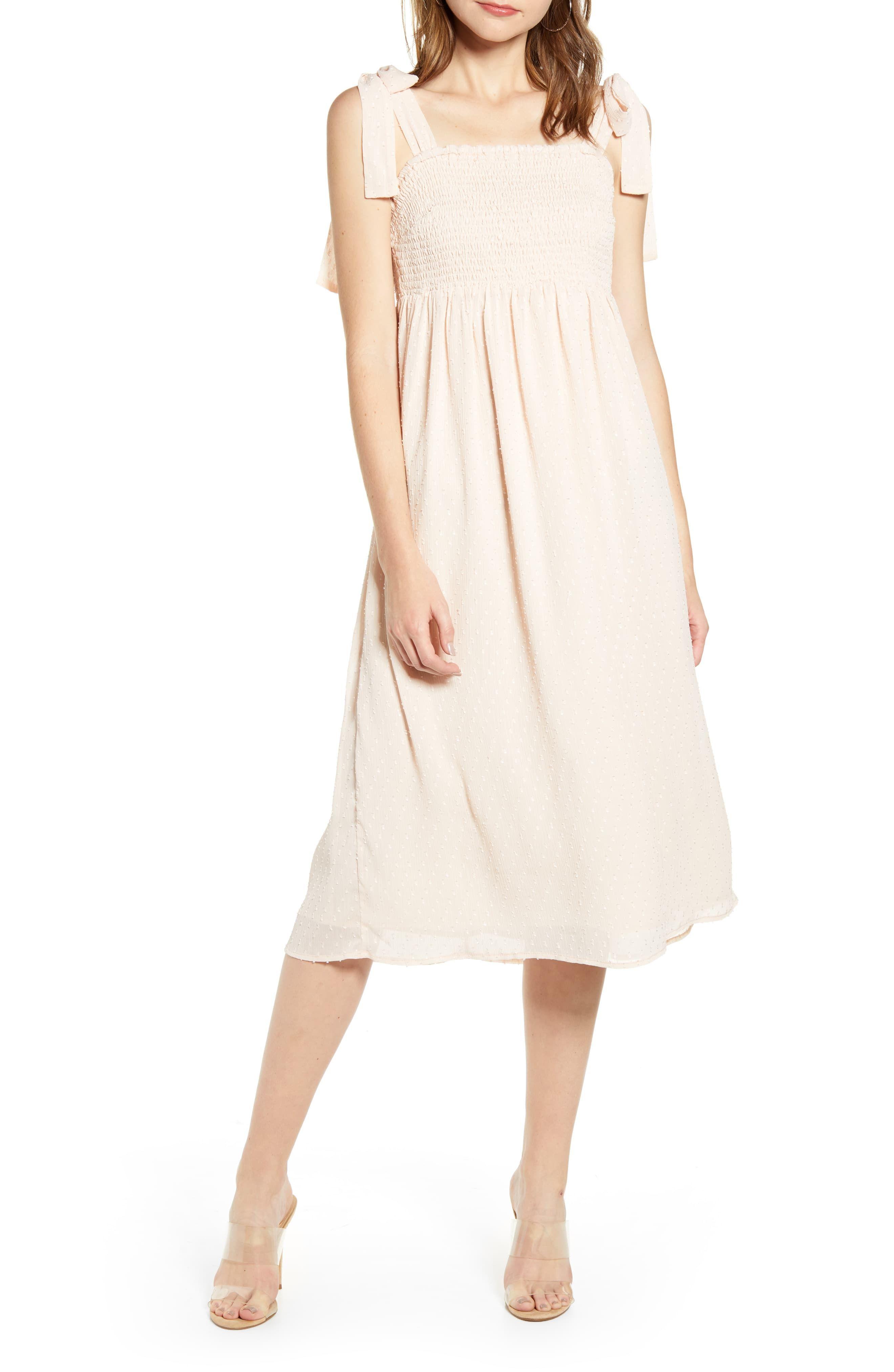 English Factory Smocked Swiss Dot Midi Dress Nordstrom Mid Dresses Trendy Casual Dress Fashion Clothes Women [ 4048 x 2640 Pixel ]