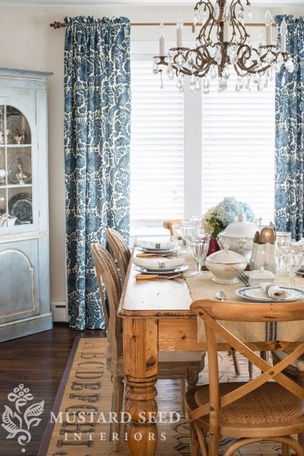 Love The Vintage Look To This Dining Room Find Pin And More On By Ferncreek Like Curtains Missmustardseed