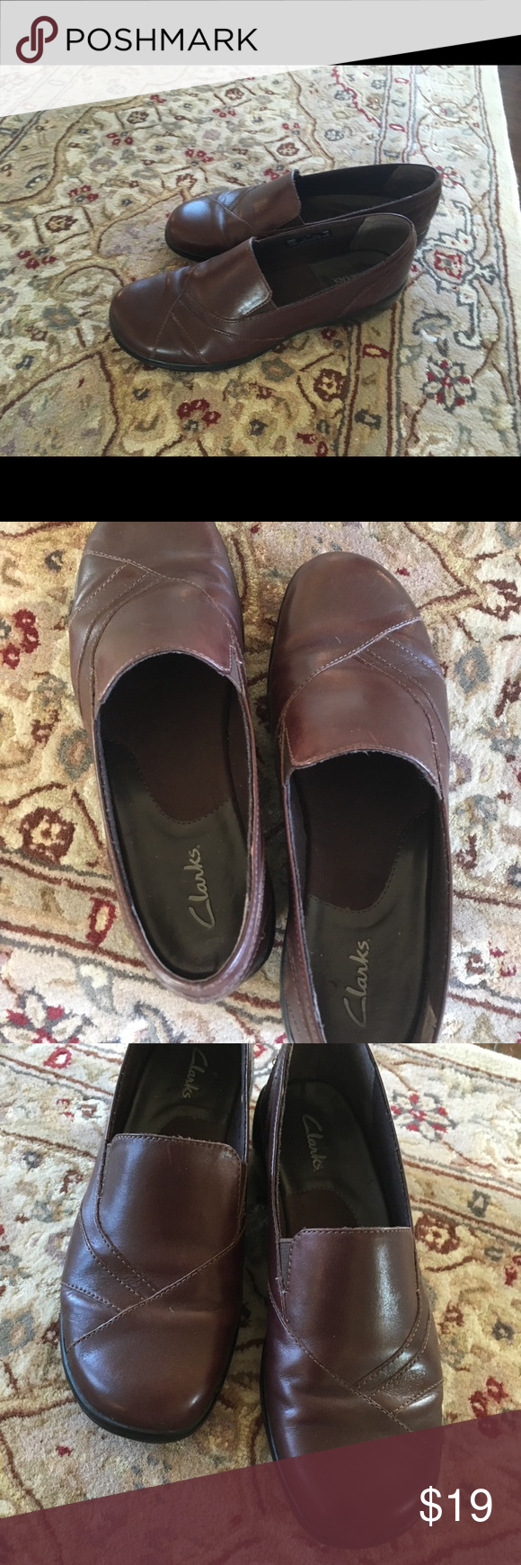 debace6f656 I just added this listing on Poshmark  Clark leather slip on brown  excellent condition.  shopmycloset  poshmark  fashion  shopping  style   forsale  Clarks   ...