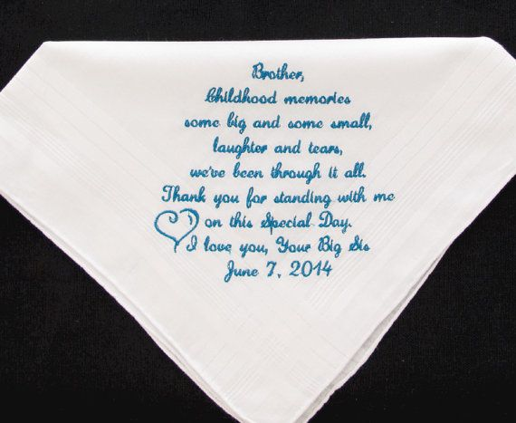 Brother Wedding Gift: Brother Of The Bride Embroidered Wedding Handkerchief, $25
