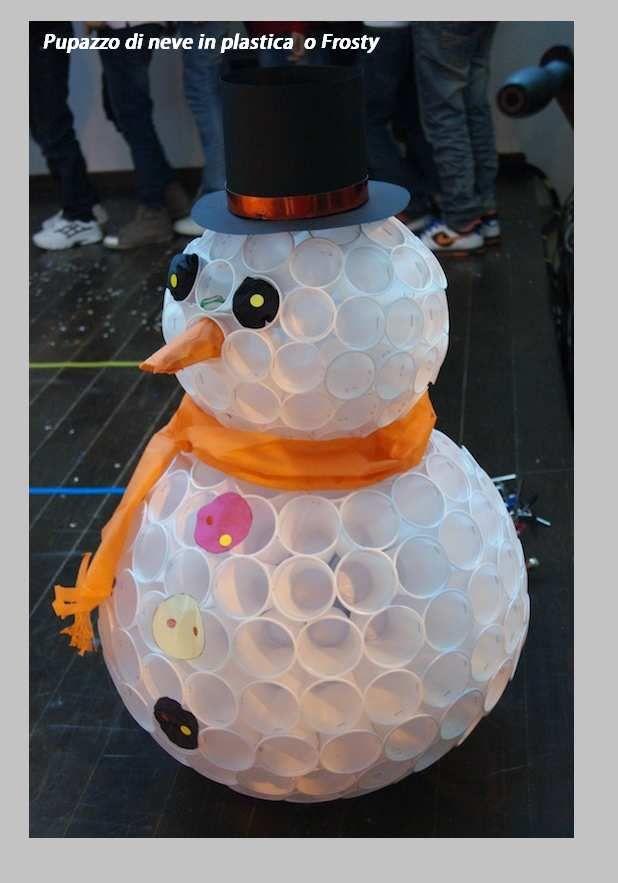 Natale come fare un frosty o pupazzo di neve tutorial con for Sfere con bicchieri di plastica
