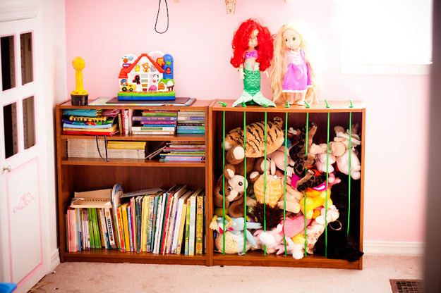 They're easier to find, easier to put away. And your child gets a kick out of having a zoo-like pen for all the stuffed animals. Get the directions here.