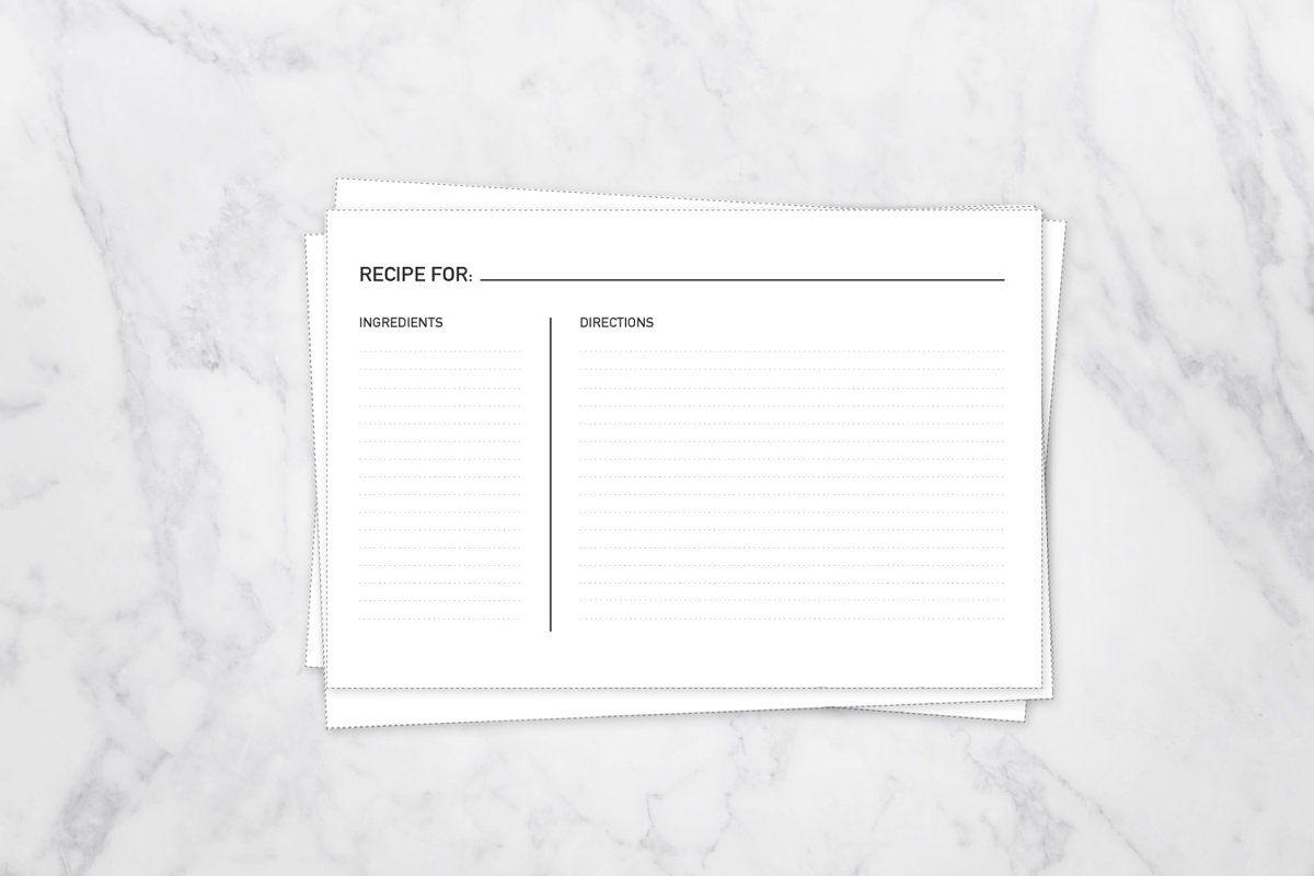 Simple Recipe Cards 5x7 Card Fill In Recipe Cards 5x7 Recipe Cards Template Recipe Cards