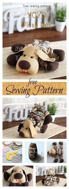 YoYo Plush Dog - Free Sewing Pattern | Stofftiere nähen, Stofftiere ...