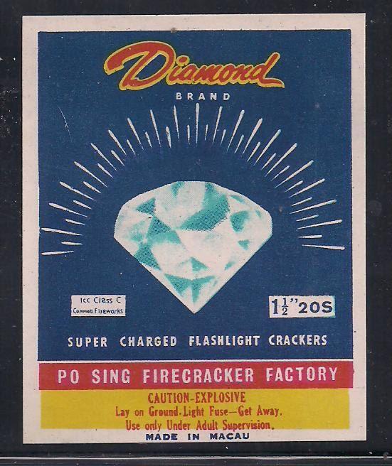 FF Vintage DIAMOND BRAND Firecracker Label 2 3/8 X 3 --------------- .51 Shipping