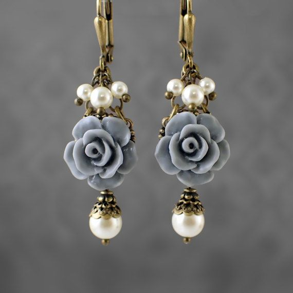 Dusty Blue Resin Rose Earrings - Swarovski Pearl Ivory and ...