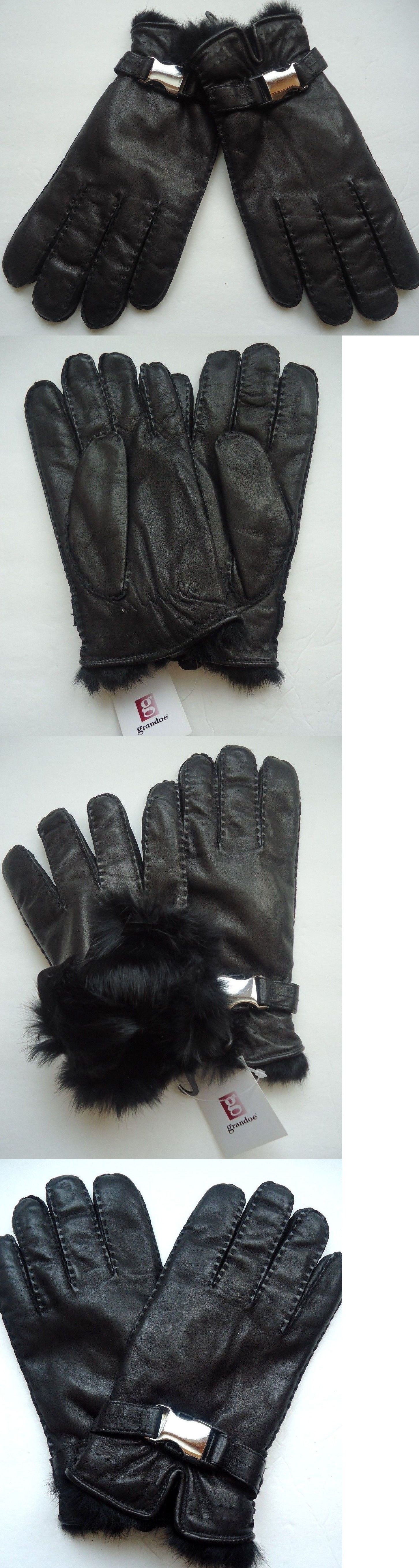 Mens leather gloves xl - Gloves And Mittens 2994 Men S Grandoe 100 Rabbit Fur Fully Lined Genuine Leather