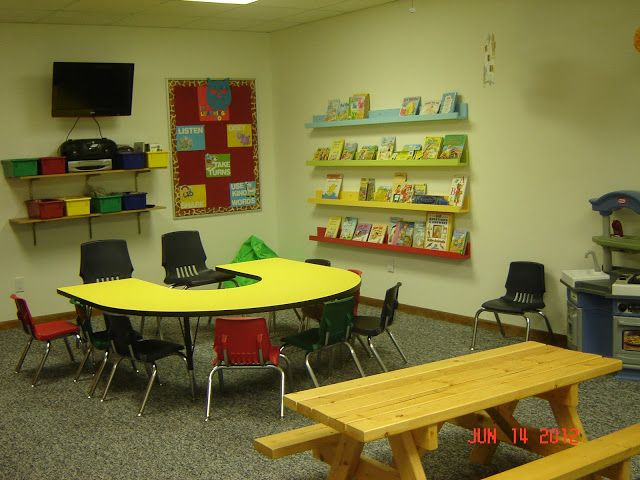 Classroom Decoration Ideas For Pre Primary School : Church nursery ideas i like the shelves and bins around the tv