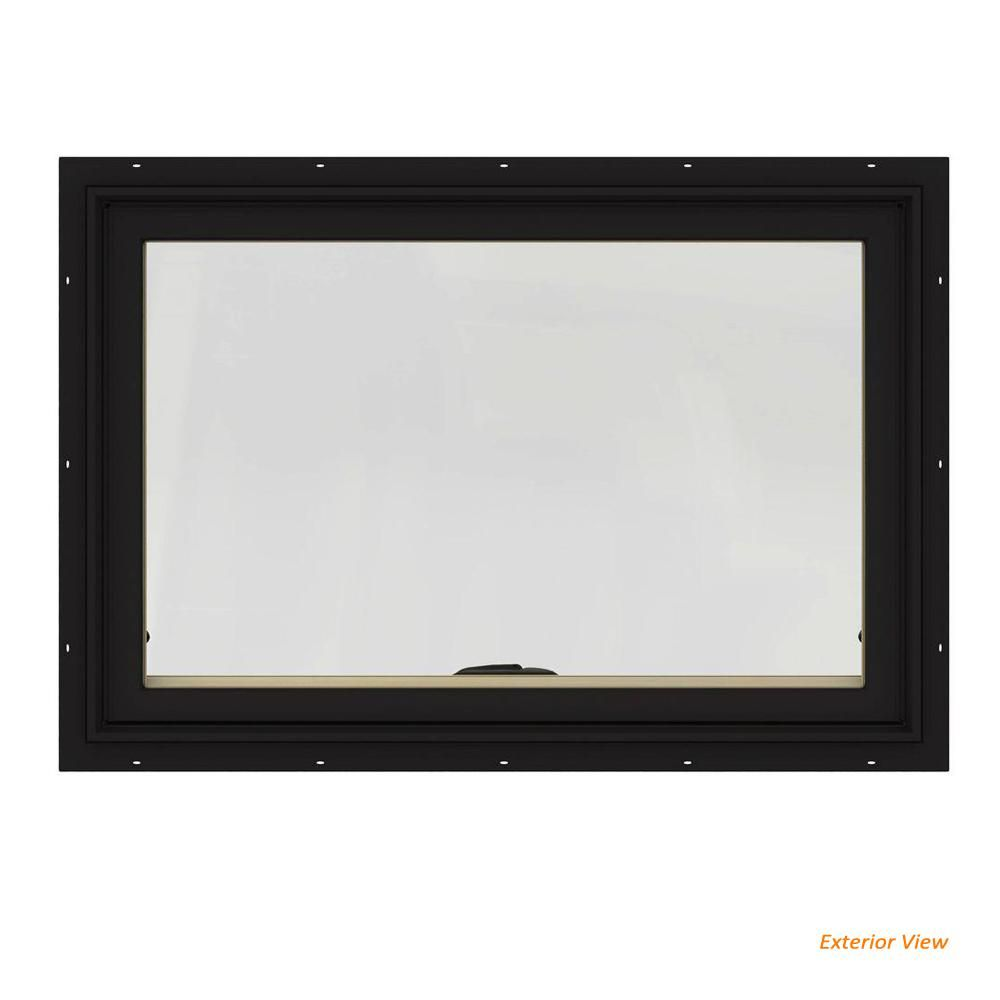 Jeld Wen 36 In X 24 In W 2500 Series Black Painted Clad Wood Awning Window W Natural Interior And Screen Thdjw143300089 The Home Depot Clad Wood Natural Interior Window Awnings