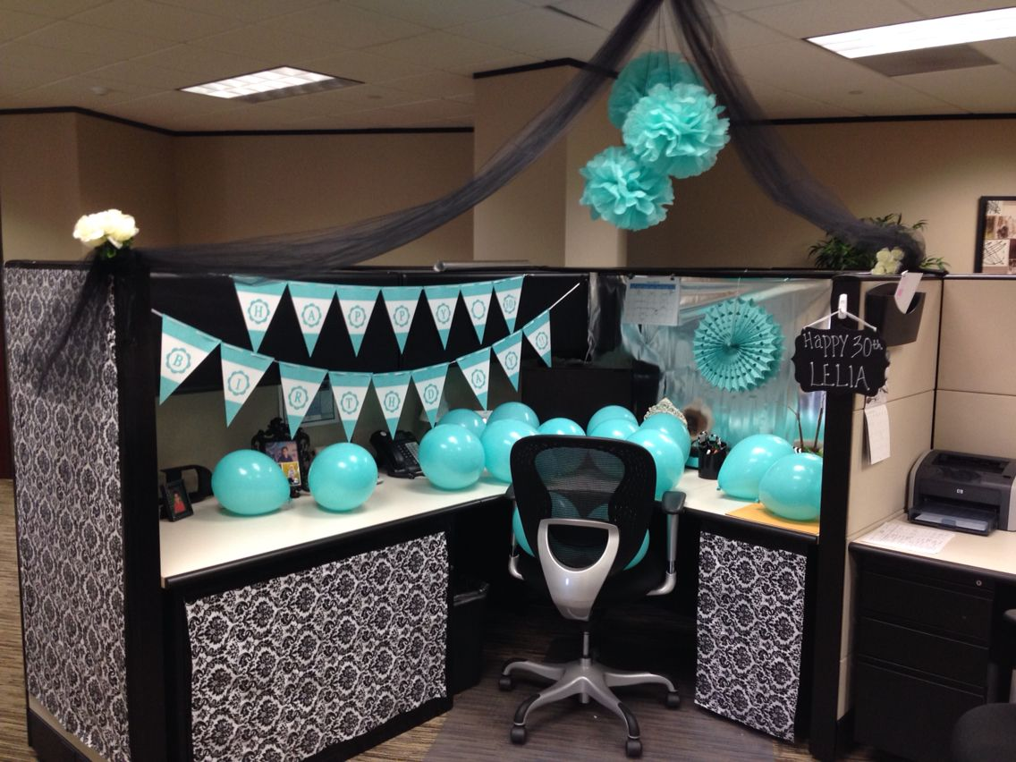 Cubicle decoration birthday crafty things pinterest for Cheap office decorating ideas