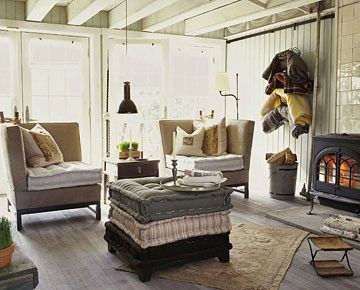 Love the blankets on the wall.  Age Wood with Stain and Whitewash