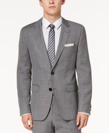 8335a547b Hugo Men's Modern-Fit Light Gray Patterned Suit Jacket - Gray 36S Hugo Boss  Suit