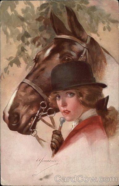 Чудо картинки, ретро открытки с лошадкой