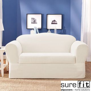 Sure Fit Twill Supreme (2 Piece) Sofa Slipcover | Overstock.com Shopping