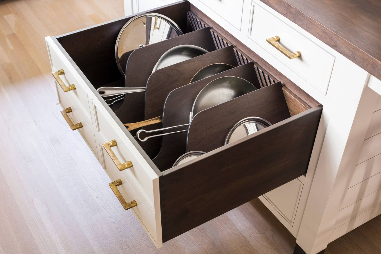 Pan Divider Storage Pot And Pan Lids Custom Cabinetry Kitchen Design