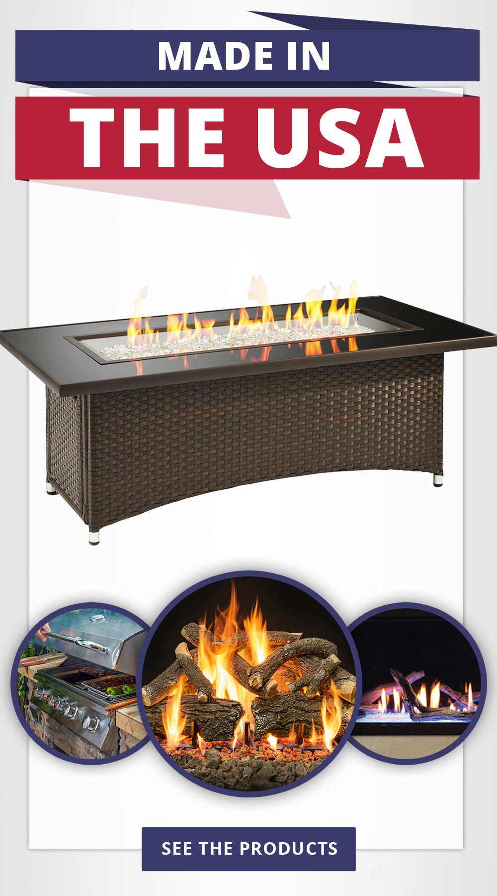 Fire Pits Fireplaces Bbq Grills And More All Made In America Made In America Gas Firepit Backyard Living