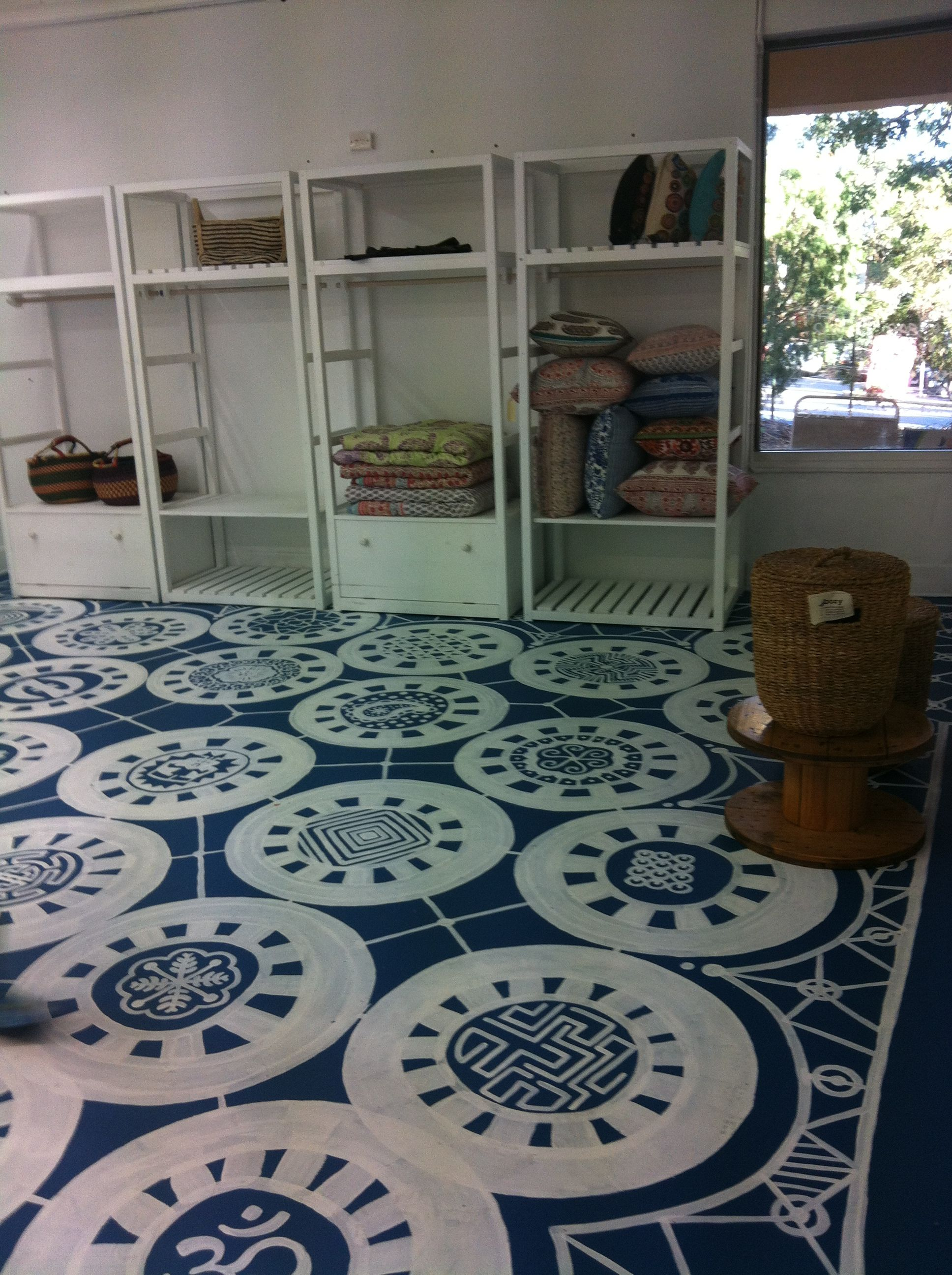 Painted Concrete Floor Base Was Standard Concrete Paint Tinted With Blue For The Design I Used A Line Ma Painted Concrete Floors Floor Paint Design Flooring