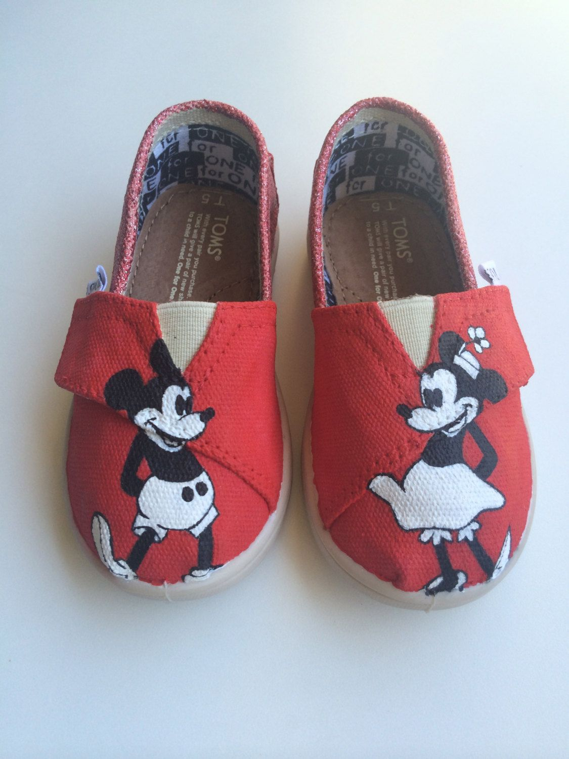 a4366bbc7439 Vintage Minnie and Mickey Themed Custom Toms by BernadetteCustoms on Etsy  Kid Shoes