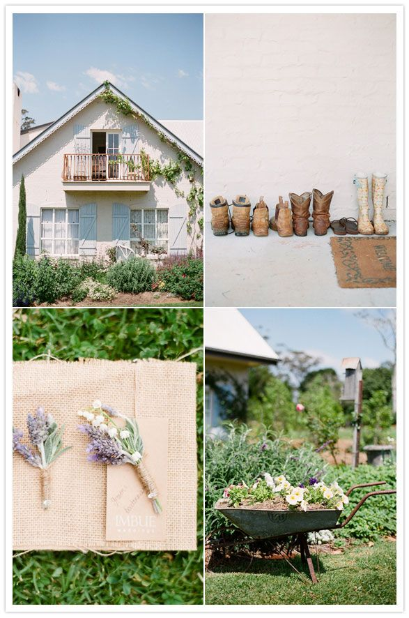 rustic farm wedding with lavender #wheelbarrow #garden