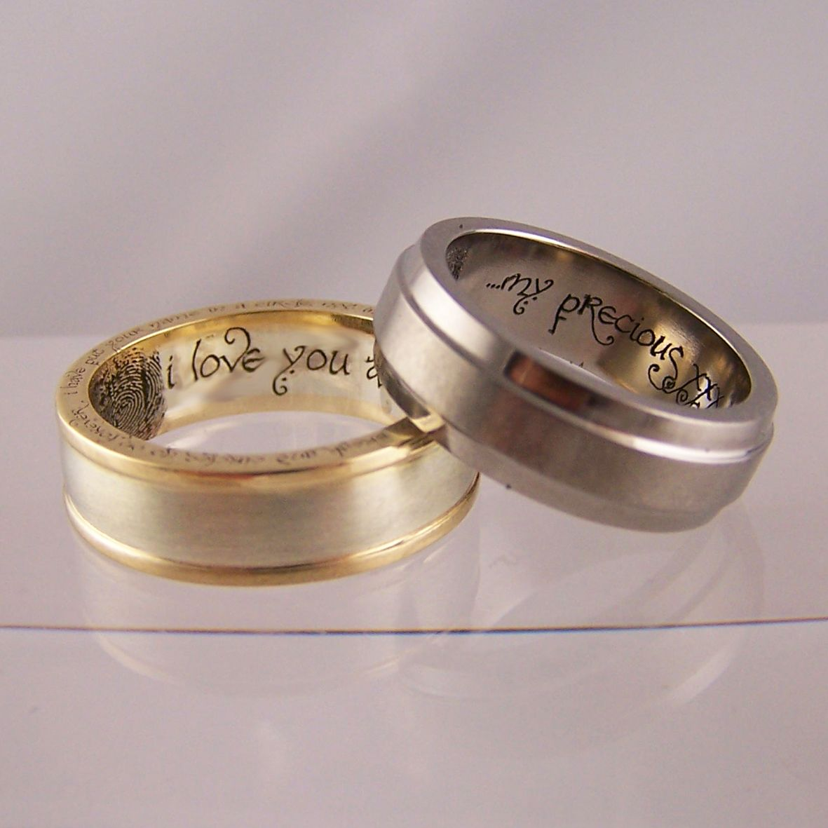 Lord Of The Rings Inspired Wedding Rings With Bilbo Baggins Handwriting  Font U0026 Couples