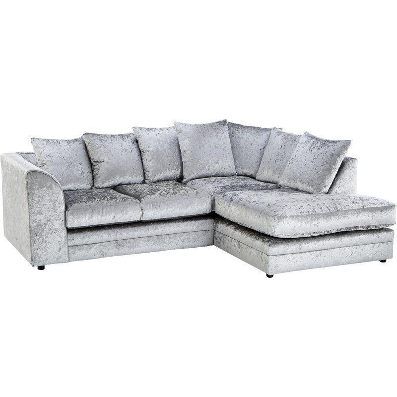 Right Facing Corner Sofa Silver Velvet Removable Cushions Living Room Furniture Corner Sofa Corner Sofa Pillows Modular Corner Sofa