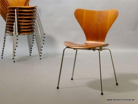 Arne Jacobsen Stühle original teakstuhl 3107 arne jacobsen für fritz hansen rares