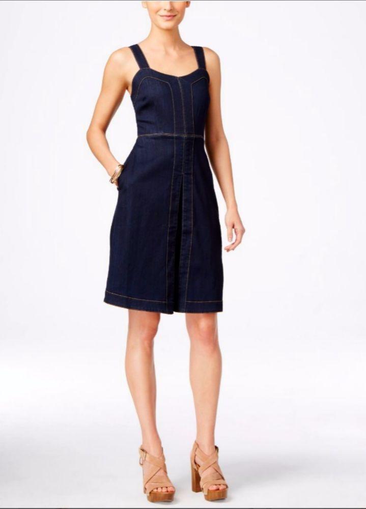 New INC International Concepts Sleeveless Denim A-Line Dress Indigo Blue Size 4…